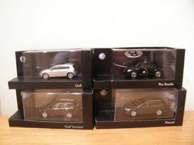 4 x 1-43 scale, Volkswagen model cars, GOLF, BEETLE, PASSAT, GOLF VARIANT