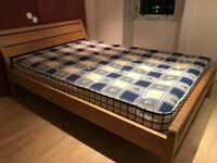 Habitat Radius Oak Double Bed for Sale £250 including mattress