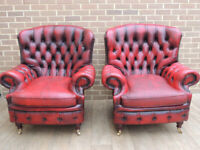 Queen Anne Chesterfield Armchairs Pair (UK Delivery)
