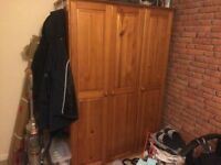 Pine Triple wardrobe and matching chest of drawers.