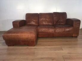 Tan real leather corner sofa with free delivery within London