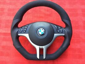 BMW M3 M5 X5 E39 E46 NEW CUSTOM MADE FLAT BOTTOM STEERING WHEEL