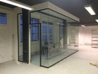 USED AND NEW 10MM TOUGHENED GLASS PARTITIONS AND DOORS INC HARDWARE