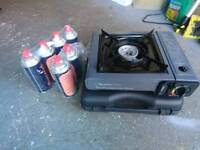 Camping stove and 6 gas bottles