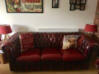 Three seater chesterfield and tub chair oxblood in colour, in very good condition