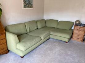 Large good quality green corner sofa
