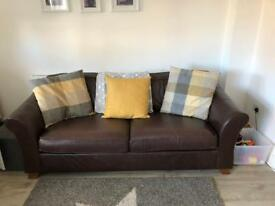 M&S Abbey Large Leather Sofa & Footstool