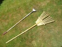 Traditional bamboo lawn rake and Another in steel