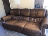 QUICK SALE NEEDED, BROWN LEATHER SOFAS
