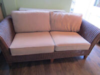 2 x conservatory wicker 3 seater sofas