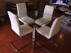 Furniture Village Glass & Steel Square Dining Table 4 Faux Leather White Chairs Excellent Condition