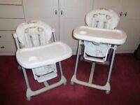 Two Prima Papa Folding High Chairs, 0 – 3years.