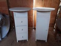 Vintage bedside chest of three drawers and matching cupboard