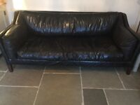 GROUCHO LARGE SOFA JOHN LEWIS BLACK CRACKLE LEATHER VGC help with local delivery available.