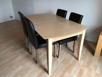 Extendable Light Brown Dining Table and Four Chairs