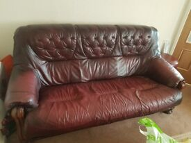 One seater and three seater leather sofas