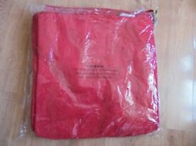 JOBLOT OF RED CHENILE TEXTURED CUSHION COVERS, ALL WITH TAGS, SEALED IN BAGS OF 10 SIZE 50CM X 50CM