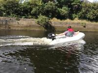 Rib inflatable fibreglass hull boat tender outboard engine