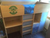 Boys Blue/Pine LittleWoods Midsleeper Bed