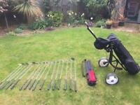 Assorted Golf Clubs with Bag and Trolley