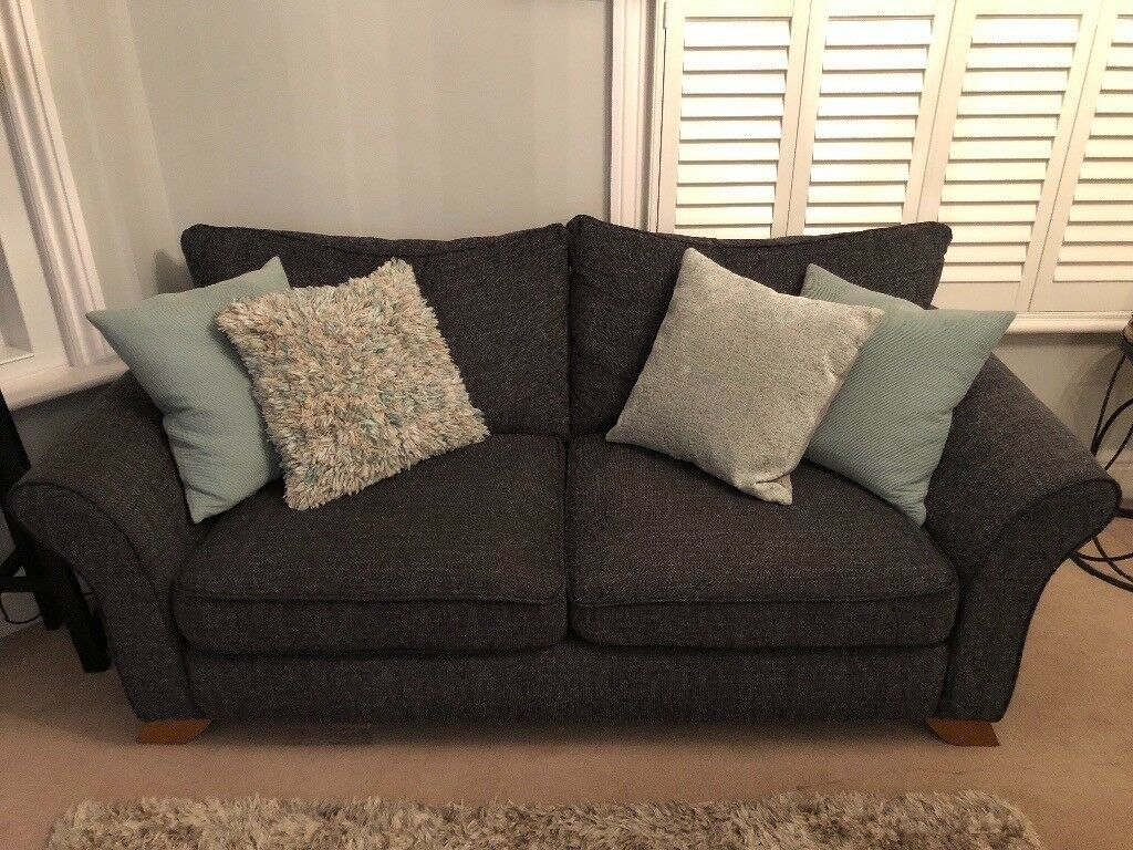 3 Seater Heidi Sofa In Charcoal Grey Sofa Store By Oak Furniture Land