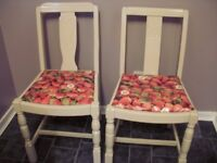 2 vintage upcycled dining chairs in strawberries and cream