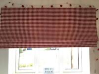 Roman blind, Laura Ashley red check with black out lining