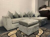 Silver crushed velvet corner sofa & stool delivery 🚚 sofa suite couch