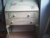 Handpainted writing desk/bureau, solid wood