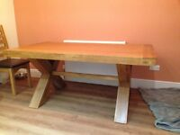 Devon Curved Rectangular Table - solid oak, as new
