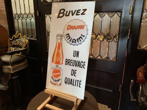 """1963 French Buvez Miami Orange Soda 29"""" Tin Advertising Sign  """" Watch Video"""""""