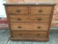 Antique chest of drawers on castors will need restoration. Can deliver.