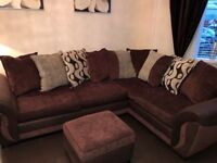 Immaculate Beautiful left hand corner sofa and cuddle chair for sale