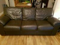3&2 seater brown leather