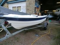 MG FISHING BOAT 12/6IN ON GOOD TRAILER WITH 2.5HP SUZUKI