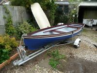 Rowing Fishing Boat and Trailer. 14ft Tender Skiff Fishing Outboard. Good condition.