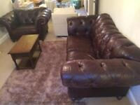 Chesterfield suite brown leather 1.5 seat + 3 seat