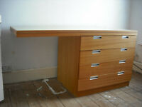 Wooden desk with plywood drawers