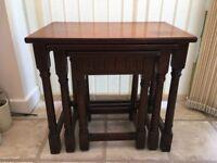 Dark Oak nest of 3 tables in need of some TLC