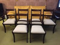 6 (six) Dark wood dining chairs with ornate patterned backs