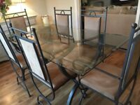 Glass & Metal Dining Table with 6 Chairs