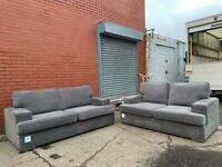 Grey DFS Fabric suede sofas 3&2 delivery 🚚 sofa suite couch