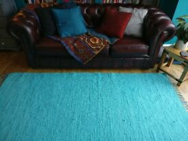 Turquoise/Bright Blue Large 100% Cotton Rag Rug