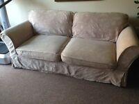 3 seater beige sofa for FREE with removable/washable covers and extra elastic cover in brown