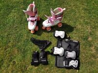 Roller Skates. Girls. Size 3-6. Includes knee, elbow, and hand protection.