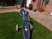 Golf Set and Trolley - classic set of 9 irons and bag on wheels.