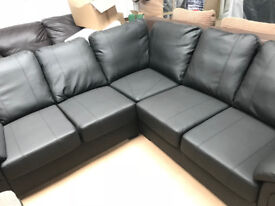 Amy Black Leather Corner Sofa (Fast&Free Delivery)