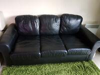Black Faux Leather 3 seater sofa