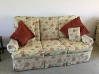 3 seater 2 seater and armchair. Floral print.
