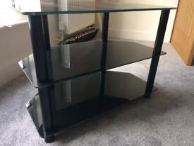 TV unit black glass